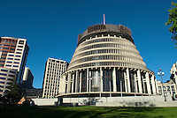Known as the Beehive, the unique Parliament building in Wellington is ten stories high and has four additional floors below ground. The Beehive is the home to the executive offices for New Zealand's Parliament. The top floor is occupied by the Cabinet room, with the Prime Minister's offices on the ninth floor.