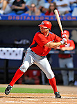 28 February 2011: Washington Nationals' infielder Michael Aubrey in action during a Spring Training game against the New York Mets at Digital Domain Park in Port St. Lucie, Florida. The Nationals defeated the Mets 9-3 in Grapefruit League action. Mandatory Credit: Ed Wolfstein Photo