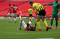 Mani Dieseruvwe of Salford City misses a header during AFC Fylde vs Salford City, Vanarama National League Play-Off Final Football at Wembley Stadium on 11th May 2019