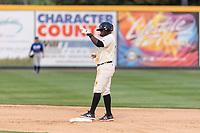 Visalia Rawhide first baseman Yoel Yanqui (29) during a California League game against the Rancho Cucamonga Quakes on April 8, 2019 in Visalia, California. Rancho Cucamonga defeated Visalia 4-1. (Zachary Lucy/Four Seam Images)