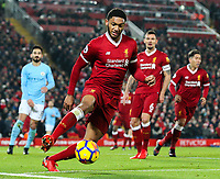 Liverpool's Joe Gomez<br /> <br /> Photographer Alex Dodd/CameraSport<br /> <br /> The Premier League - Liverpool v Manchester City - Sunday 14th January 2018 - Anfield - Liverpool<br /> <br /> World Copyright &copy; 2018 CameraSport. All rights reserved. 43 Linden Ave. Countesthorpe. Leicester. England. LE8 5PG - Tel: +44 (0) 116 277 4147 - admin@camerasport.com - www.camerasport.com