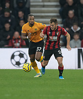 \Bournemouth's Ryan Fraser (right) under pressure from  Wolverhampton Wanderers' Adama Traore (left) <br /> <br /> Photographer David Horton/CameraSport<br /> <br /> The Premier League - Bournemouth v Wolverhampton Wanderers - Saturday 23rd November 2019 - Vitality Stadium - Bournemouth<br /> <br /> World Copyright © 2019 CameraSport. All rights reserved. 43 Linden Ave. Countesthorpe. Leicester. England. LE8 5PG - Tel: +44 (0) 116 277 4147 - admin@camerasport.com - www.camerasport.com