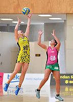 Central Manawa&rsquo;s Paris Lokotui and Southern Blast&rsquo;s Kiana Pelasio in action during the Beko Netball League - Central Manawa v Southern Blast at ASB Sports Centre, Wellington, New Zealand on Sunday 12 May 2019. <br /> Photo by Masanori Udagawa. <br /> www.photowellington.photoshelter.com