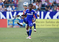 Chivas USA defender Ante Jazic tightly defends Kansas City Wizards midfielder Kei Kamara. The Kansas City Wizards defeated CD Chivas USA 2-0 at Home Depot Center stadium in Carson, California on Sunday September 19, 2010.