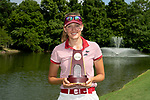 HOUSTON, TX - MAY 19: Katharina Keilich of the University of Indianapolis celebrates with the individual championship trophy during the Division II Women's Golf Championship held at Bay Oaks Country Club on May 19, 2018 in Houston, Texas. Keilich won the individual title with a score of 287. (Photo by Justin Tafoya/NCAA Photos via Getty Images)