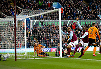 Albert Adomah of Aston Villa' scores Aston Villa's goal<br /> <br /> <br /> Photographer Leila Coker/CameraSport<br /> <br /> The EFL Sky Bet Championship - Aston Villa v Wolverhampton Wanderers - Saturday 10th March 2018 - Villa Park - Birmingham<br /> <br /> World Copyright &copy; 2018 CameraSport. All rights reserved. 43 Linden Ave. Countesthorpe. Leicester. England. LE8 5PG - Tel: +44 (0) 116 277 4147 - admin@camerasport.com - www.camerasport.com