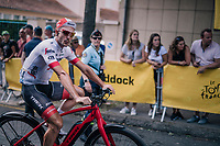 John Degenkolb (DEU/Trek-Segafredo) electrified on his way to sign-on<br /> <br /> Stage 15: Millau &gt; Carcassonne (181km)<br /> <br /> 105th Tour de France 2018<br /> &copy;kramon