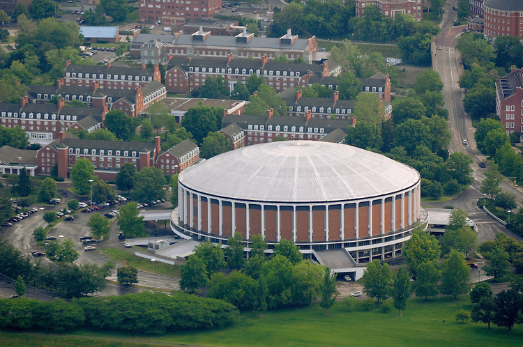 Aerial view of the Convocation Center and West Green. © Ohio University
