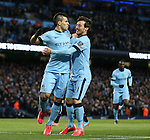 Sergio Aguero of Manchester City celebrates scoring his goal with David Silva of Manchester City - Barclays Premier League - Manchester City vs Newcastle Utd - Etihad Stadium - Manchester - England - 21st February 2015 - Picture Simon Bellis/Sportimage