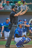 Umpire Casey James handles the calls behind the plate during the game between the Ogden Raptors and the Orem Owlz at Lindquist Field on September 3, 2019 in Ogden, Utah. The Raptors defeated the Owlz 12-0. (Stephen Smith/Four Seam Images)