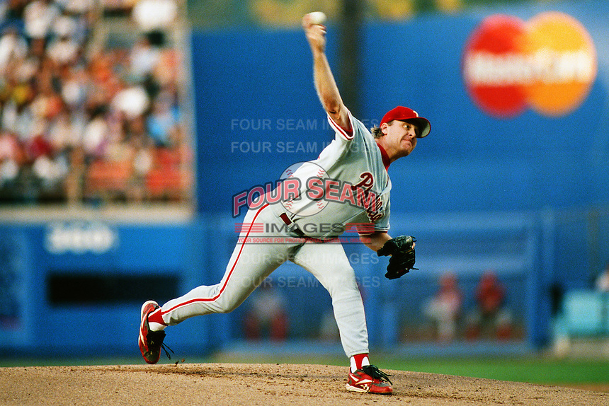 Curt Schilling of the Philadelphia Phillies during a game against the Los Angeles Dodgers at Dodger Stadium circa 1999 in Los Angeles, California. (Larry Goren/Four Seam Images)