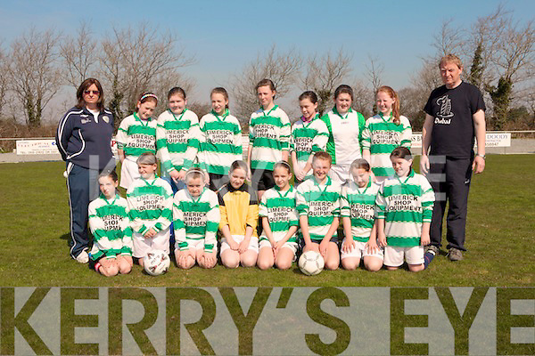 The Limerick team who took part in the soccer championship held in Pat Kennedy Park, Listowel last Sunday .B l-r:Barbara Bermingham, Aisling Doyle, Aine Maher, Eva Carew, Aoibhin Maher, Caoimhe Murphy, Lisa Keane, Karen Gallagher, Tom Carew. F l-r: Ciara Lane, Courtney Hayes, Emma Gallagher, Lindsie Doyle, Emma O'Brien, Aisling Horan, Lucy O'Brien, Aisling Horan