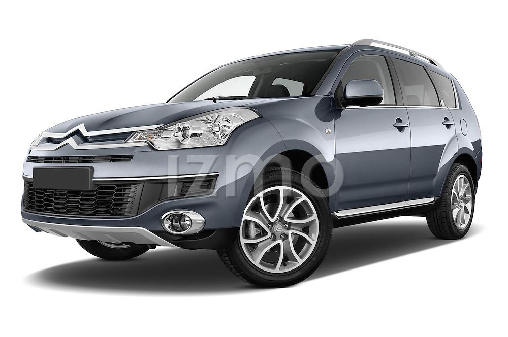 Low aggressive front three quarter view of a 2007 - 2012 Citroen C-CROSSER Exclusive  SUV 4WD