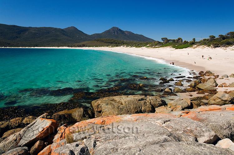 View along Wineglass Bay.  Freycinet National Park, Tasmania, AUSTRALIA