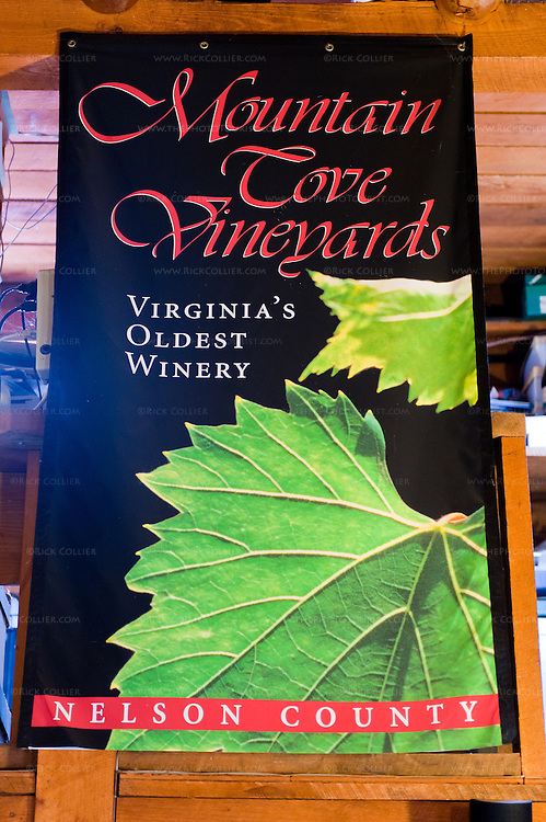 Banner hanging in the tasting room at Mountain Cove Vineyards.