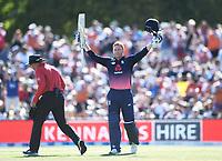 England's Jonny Bairstow celebrates his century. <br /> New Zealand Blackcaps v England. 5th ODI International one day cricket, Hagley Oval, Christchurch. New Zealand. Saturday 10 March 2018. &copy; Copyright Photo: Andrew Cornaga / www.Photosport.nz