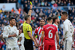 Real Madrid's Sergio Ramos seen yellow card during La Liga match between Real Madrid and Girona FC at Santiago Bernabeu Stadium in Madrid, Spain. February 17, 2019. (ALTERPHOTOS/A. Perez Meca)