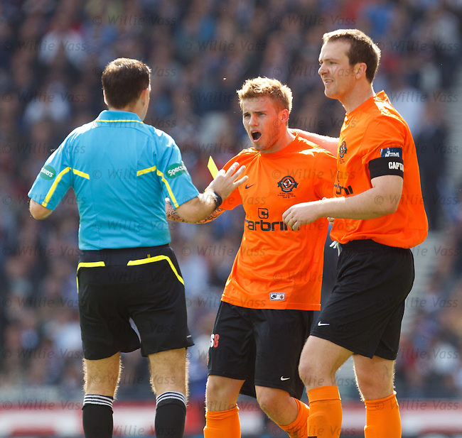 David Goodwillie booked by referee Dougie McDonald for raising his shirt