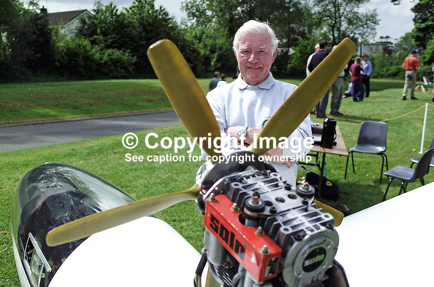 Joe Taggart, Whiteabbey, Newtownabbey, N Ireland, UK, businessman, beside his Turbo Discus glider. He is a member of the Ulster Gliding Club.  Taken at Aviation Fair at the Ulster Transport Museum, near Holywood Co Dow, N Ireland. Ref: 2001052142<br />