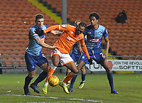 Blackpool's Nathan Delfouneso battles for the ball<br /> <br /> Photographer Dave Howarth/CameraSport<br /> <br /> The EFL Sky Bet League One - Blackpool v Wycombe Wanderers - Tuesday 29th January 2019 - Bloomfield Road - Blackpool<br /> <br /> World Copyright © 2019 CameraSport. All rights reserved. 43 Linden Ave. Countesthorpe. Leicester. England. LE8 5PG - Tel: +44 (0) 116 277 4147 - admin@camerasport.com - www.camerasport.com