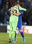 Getafe CF's David Soria (l) and Leandro Cabrera celebrate goal during UEFA Europa League match. December 12,2019. (ALTERPHOTOS/Acero)