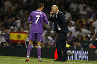 Cristiano Ronaldo of Real Madrid and Real Madrid Manager Zinedine Zidane during the UEFA Champions League Final match between Juventus and Real Madrid at the Principality Stadium on June 3rd 2017 in Cardiff, Wales. <br /> <br /> Foto Daniel Chesterton / Panoramic / Insidefoto