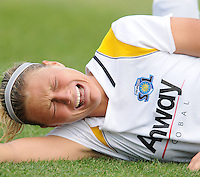 LA Sol  defender Christie Shaner (15) after colliding with Freedom forward Abby Wambach (20) and suffering a fracture of of the mid-shaft tibia.   The LA Sol defeated the Washington Freedom 1-0 at the Maryland Soccerplex, Sunday July 5, 2009.