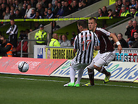 Danny Grainger beats Kenny McLean in the St Mirren v Heart of Midlothian Clydesdale Bank Scottish Premier League match played at St Mirren Park, Paisley on 15.9.12.