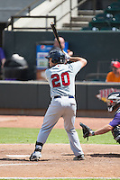 Kevin Heller (20) of the Salem Red Sox at bat against the Winston-Salem Dash at BB&T Ballpark on May 31, 2015 in Winston-Salem, North Carolina.  The Red Sox defeated the Dash 6-5.  (Brian Westerholt/Four Seam Images)