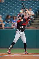 Richmond Flying Squirrels Bryce Johnson (34) at bat during an Eastern League game against the Bowie Baysox on August 15, 2019 at Prince George's Stadium in Bowie, Maryland.  Bowie defeated Richmond 4-3.  (Mike Janes/Four Seam Images)
