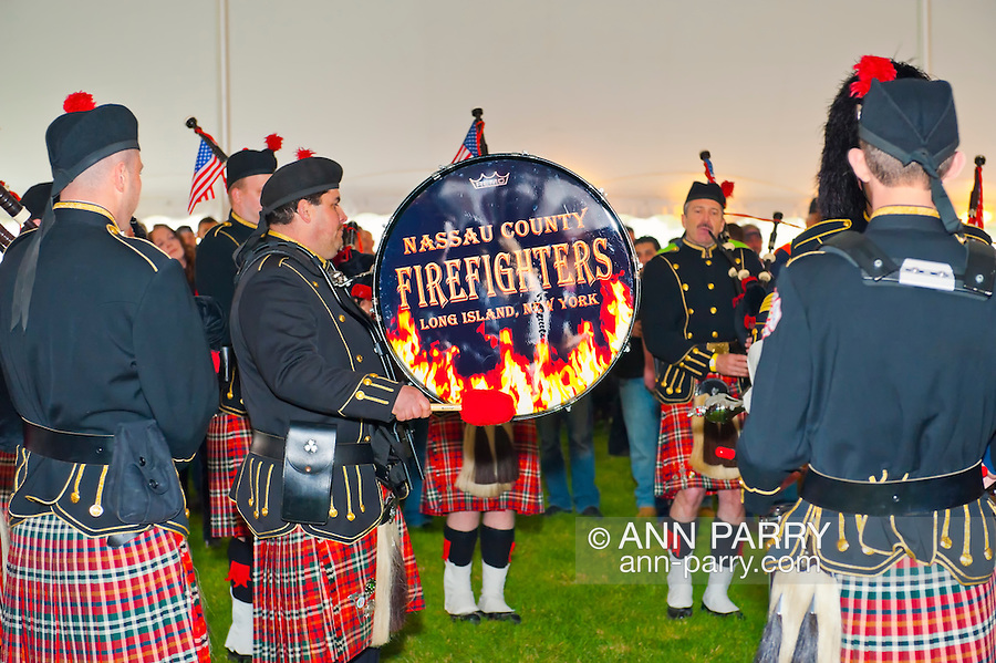 Fund raiser for firefighter Ray Pfeifer on Saturday, March 31, 2012, at East Meadow Firefighters Benevolent Hall, New York, USA. The Nassau County Firefighters Pipes and Drums band performed. [NOTE: Editorial; NOT altered digitally]