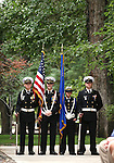 Members of the Carson High School Naval ROTC wait for the start of a USS Nevada Centennial of Launch ceremony at the Capitol, in Carson City, Nev., on Friday, July 11, 2014.<br /> Photo by Cathleen Allison