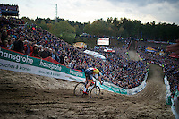 Sven Nys (BEL/Crelan-AAdrinks) diving into &quot;The Pit&quot;<br /> <br /> GP Zonhoven 2014