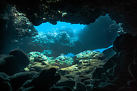 View looking out of an underwater cave at Shark's Cove, North Shore, Oahu, Hawaii