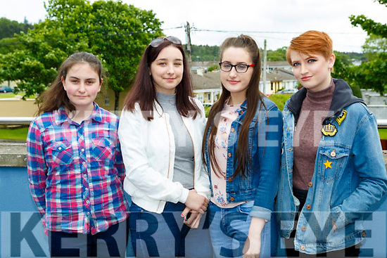 Jancinta Murphy Beaufort, Sarah Finnan Glenflesk, Michaela O'Sullivan Milltown and Keavy Golden Killorglin at The Voice auditions in Killarney School of Music on Tuesday