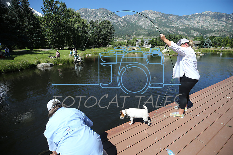 Breast cancer survivor Tami Wilkinson works to reels in her catch under the watchful eye of guide Gretchen Montgomery and Hannah the dog during a Casting for Recovery retreat in Gardnerville, Nev., on Friday, June 30, 2017. <br /> Photo by Cathleen Allison/Nevada Photo Source