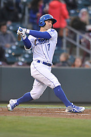 Omaha Storm Chasers right fielder Tyler Collins (7) swings at a pitch against the Colorado Springs Sky Sox at Werner Park on April 5, 2018 in Omaha, Nebraska. The Sky Sox won 3-1.  (Dennis Hubbard/Four Seam Images)
