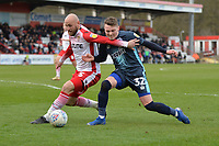 Scott Cuthbert of Stevenage makes a great challenge on `b32 during Stevenage vs Bury, Sky Bet EFL League 2 Football at the Lamex Stadium on 9th March 2019