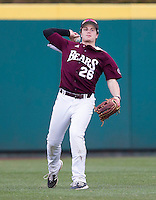 Tate Matheny (26) of the Missouri State Bears throws a ball back to the infield during a game against the Northwestern Wildcats at Hammons Field on March 9, 2013 in Springfield, Missouri. (David Welker/Four Seam Images)