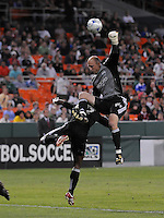 Seattle Sounders FC. goalkeeper Kasey Keller (18) goes up to make a save.  The Seattle Sounders FC defeated DC United 2-1at RFK Stadium, Saturday September 12 , 2009.