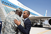 United States President Barack Obama bids farewell to General Lloyd Austin III at Fort Bliss in El Paso, Texas, August 31, 2012. The President traveled to Fort Bliss to mark the two-year anniversary of the end of America's combat mission in Iraq..Mandatory Credit: Pete Souza - White House via CNP