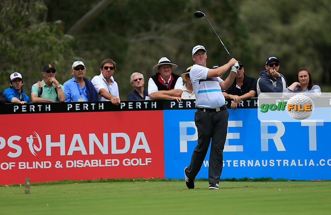Marcus Fraser (AUS) on the 9th tee during Round 3 of the ISPS HANDA Perth International at the Lake Karrinyup Country Club on Saturday 25th October 2014.<br /> Picture:  Thos Caffrey / www.golffile.ie