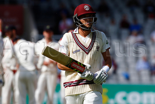 01.09.2016. Old Trafford, Manchester, England. Specsavers County Championship. Lancashire versus Somerset.  Somerset wicket-keeper Ryan Davies walks off after he was bowled by Tom Bailey for 86 after he and Peter Trego had added 236 for the 8th Somerset wicket.