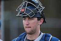 Catawba Indians catcher Zach Almond (23) prior to the game against the Belmont Abbey Crusaders at Abbey Yard on February 7, 2017 in Belmont, North Carolina.  The Crusaders defeated the Indians 12-9.  (Brian Westerholt/Four Seam Images)