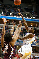 INDIANAPOLIS, IN - APRIL 3, 2011: Chiney Ogwumike makes two at Conseco Fieldhouse against Texas A&M at Conseco Fieldhouse during the NCAA Final Four  in Indianapolis, IN on April 1, 2011.