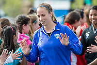 Boston, MA - Sunday May 07, 2017: Julie King and fans prior to a regular season National Women's Soccer League (NWSL) match between the Boston Breakers and the North Carolina Courage at Jordan Field.