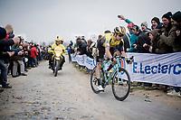 Wout Van Aert (BEL/Jumbo-Visma) over the infamous Carrefour de l' Arbre cobbles<br /> <br /> 117th Paris-Roubaix 2019 (1.UWT)<br /> One day race from Compiègne to Roubaix (FRA/257km)<br /> <br /> ©kramon