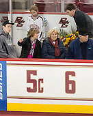 Carpenter family waits for ceremony above her number. - The Boston College Eagles defeated the visiting Providence College Friars 7-1 on Friday, February 19, 2016, at Kelley Rink in Conte Forum in Boston, Massachusetts.
