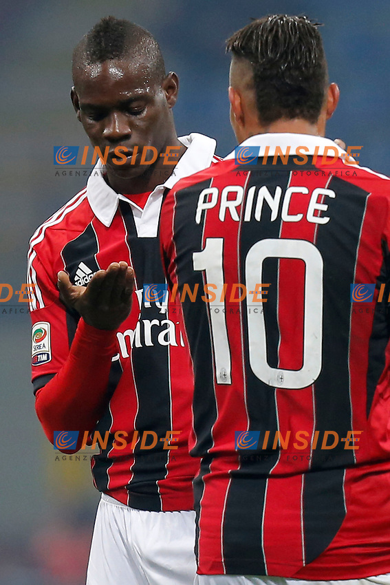 "Mari Balotelli Milan, Kevin Boateng Milan, Milano 15/2/2013 .Stadio ""S.Siro"".Football Calcio 2012/2013 Serie A.Milan Vs Parma.Foto Marco Bertorello Insidefoto"