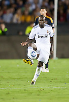 Real midfielder Lassana Diarra receives a pass during the first half of the friendly game between LA Galaxy and Real Madrid at the Rose Bowl in Pasadena, CA, on August 7, 2010. LA Galaxy 2, Real Madrid 3.